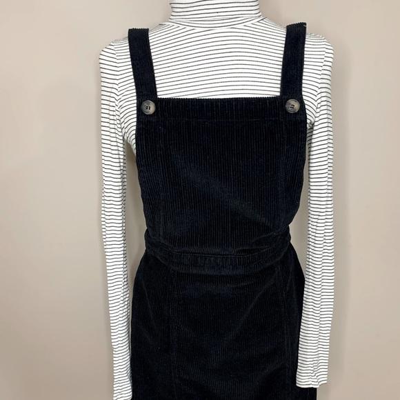 Topshop corduroy black overall dress